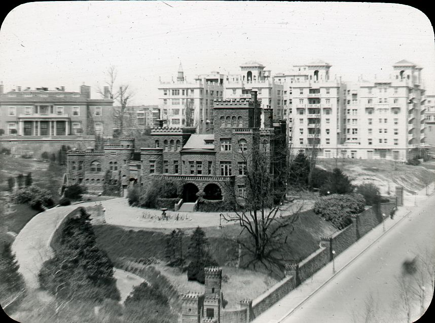 Boundary Castle. Image from DC Public Library Commons on Flickr. Built in 1888 for Senator John Brooks Henderson, the castle stood at the intersection of Florida Avenue and 16th Street, NW (northwest corner). Henderson was a skilled politician and was the man who drafted the Thirteenth Amendment to the Constitution. In 1949 the house was razed, with only the great stone entrance gate posts having survived the wrecking ball.